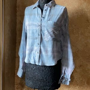 Free people light blue plaid button up/long sleev